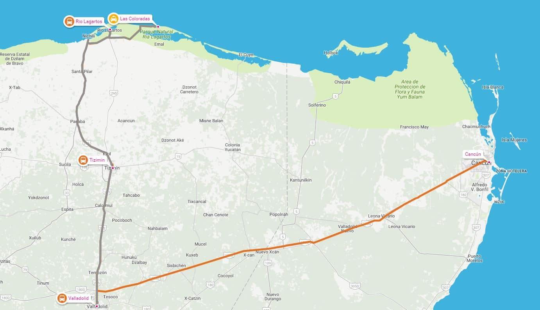 Las Coloradas, Excursiones en la Riviera Maya, ubicación